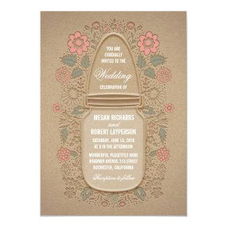 Mariage floral rustique de pot de maçon carton d'invitation  12,7 cm x 17,78 cm