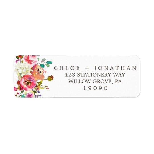 Mariage floral simple de bouquet d'aquarelle étiquette d'adresse retour