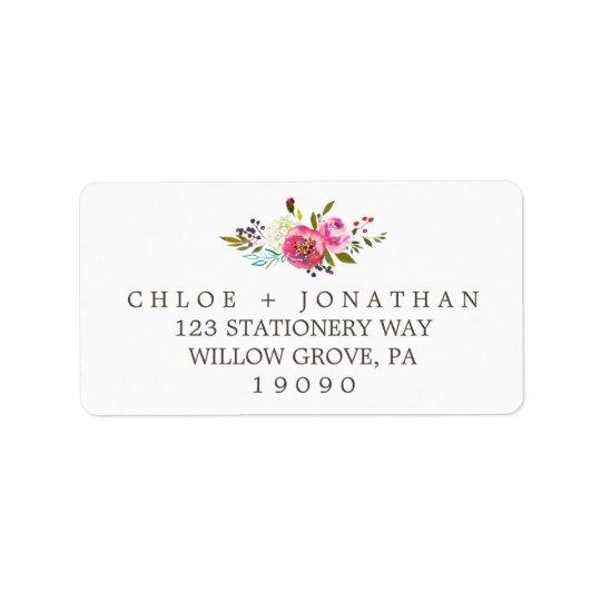 Mariage floral simple de bouquet d'aquarelle étiquette d'adresse