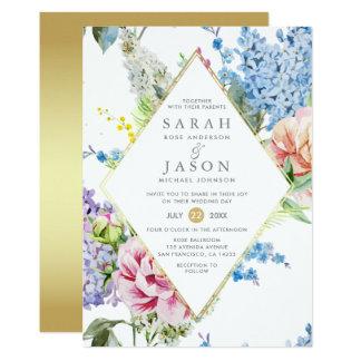 Mariage floral vibrant d'aquarelle bleue et carton d'invitation  12,7 cm x 17,78 cm