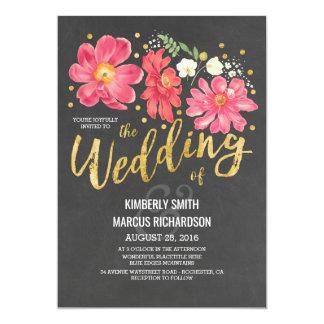 Mariage floral vintage de tableau et d'or carton d'invitation  12,7 cm x 17,78 cm