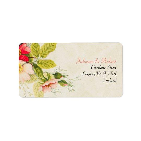 Mariage floral vintage du bouquet | étiquettes d'adresse