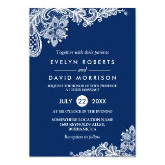 Mariage formel blanc élégant de bleu marine de carton d'invitation  12,7 cm x 17,78 cm