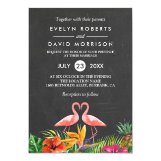 Mariage formel de flamant floral tropical de carton d'invitation  12,7 cm x 17,78 cm