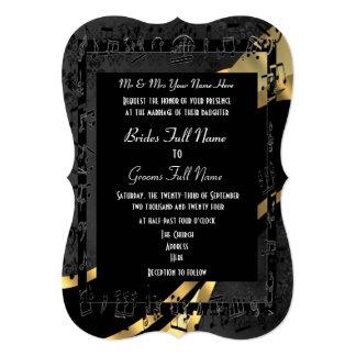 Mariage formel élégant d'or noir chic carton d'invitation  12,7 cm x 17,78 cm