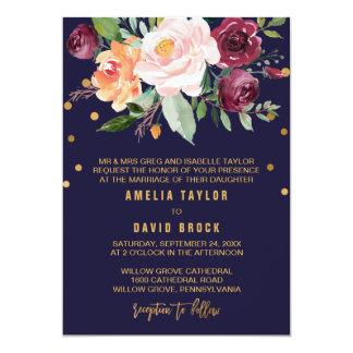 Mariage formel floral d'automne carton d'invitation  12,7 cm x 17,78 cm
