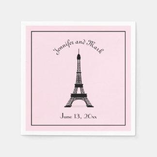 Mariage français noir et rose chic de Tour Eiffel Serviette En Papier