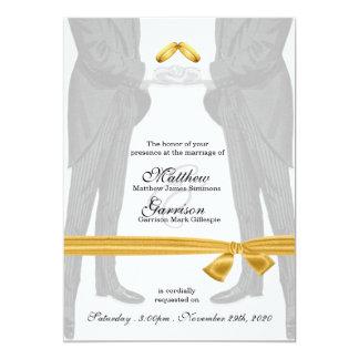 Mariage gai de mariés du cru deux carton d'invitation  12,7 cm x 17,78 cm