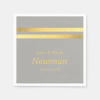 mariage géométrique de feuille d'or moderne serviettes en papier