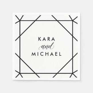 Mariage géométrique moderne noir et blanc serviettes en papier