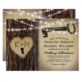 Mariage gothique rustique de coeur de fausse clé carton d'invitation  12,7 cm x 17,78 cm