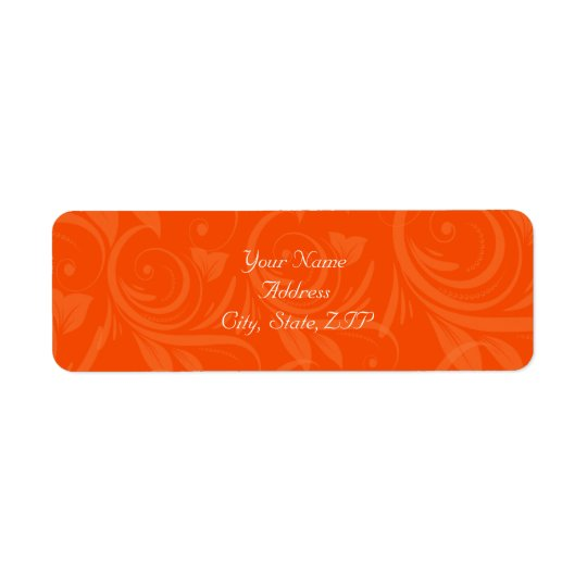 Mariage graphique rose d'orange étiquettes d'adresse retour