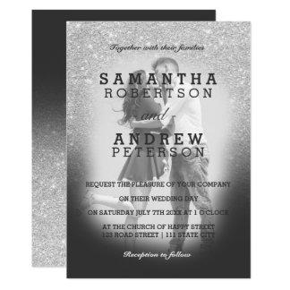 Mariage gris de photo d'ombre de scintillement carton d'invitation  12,7 cm x 17,78 cm