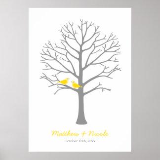 Mariage gris jaune d'arbre d'empreinte digitale affiche