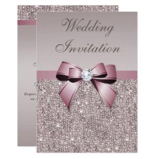 Mariage gris mauve d'arc de diamants de paillettes carton d'invitation  12,7 cm x 17,78 cm