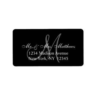 Mariage gris noir élégant de monogramme étiquette d'adresse