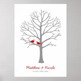 Mariage gris rouge d'arbre d'empreinte digitale posters
