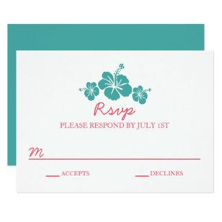 Mariage hawaïen de ketmie - carte de RSVP Carton D'invitation 8,89 Cm X 12,70 Cm