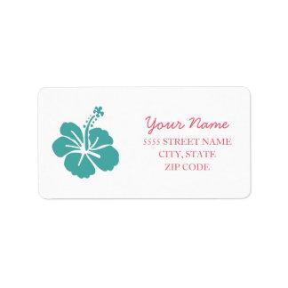 Mariage hawaïen de ketmie étiquette d'adresse