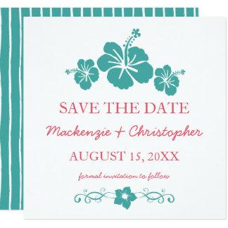 Mariage hawaïen de ketmie - faites gagner la date carton d'invitation  13,33 cm