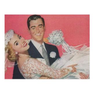 Mariage heureux vintage de couples de marié de carte postale
