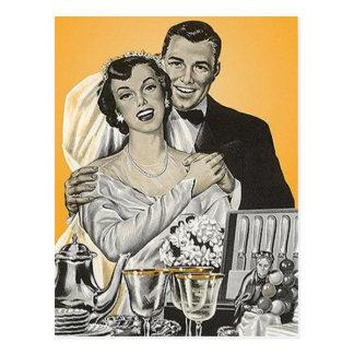 Mariage heureux vintage de couples de marié de cartes postales