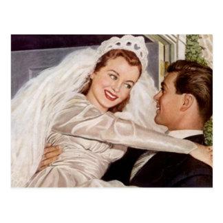 Mariage heureux vintage de couples de marié de jeu cartes postales
