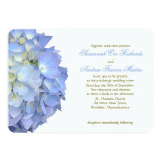 Mariage horizontal d'hortensia de lune bleue carton d'invitation  12,7 cm x 17,78 cm