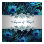 Mariage indien royal de paon d'argent de bleu carton d'invitation  13,33 cm