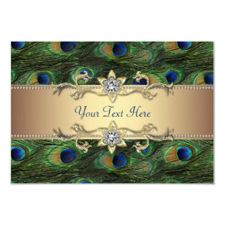 Mariage indien royal vert de paon d'or vert carton d'invitation 8,89 cm x 12,70 cm