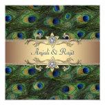 Mariage indien royal vert de paon d'or vert carton d'invitation  13,33 cm