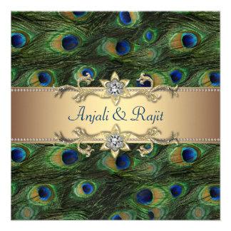 Mariage indien royal vert de paon d'or vert invitations personnalisables