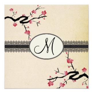 mariage japonais de fleurs de cerisier de carton d'invitation  13,33 cm