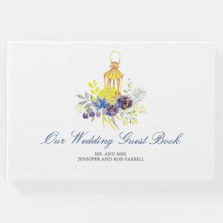 Mariage jaune bleu de lanterne florale livre d'or