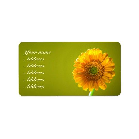 Mariage jaune de fleur de Gerbra de marguerite Étiquette D'adresse