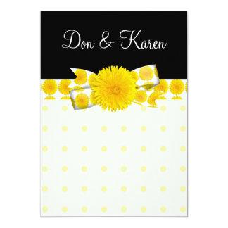 Mariage jaune de pissenlit de printemps carton d'invitation  12,7 cm x 17,78 cm