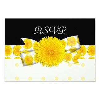 Mariage jaune de pissenlit de printemps carton d'invitation 8,89 cm x 12,70 cm