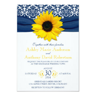 Mariage jaune de ruban de damassé de bleu marine carton d'invitation  12,7 cm x 17,78 cm