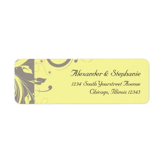 Mariage jaune et gris moderne de remous étiquette d'adresse retour
