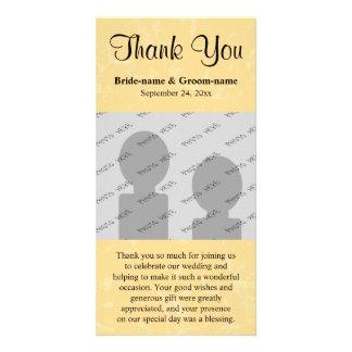 Mariage jaune et noir avec le motif subtil cartes de vœux avec photo