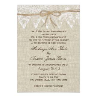 Mariage juste de pays vintage de dentelle carton d'invitation  12,7 cm x 17,78 cm