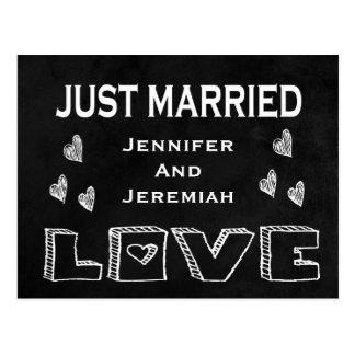 Mariage juste noir et blanc marié d'amour de carte postale