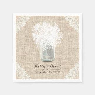 Mariage lacé de toile de jute de pot de maçon du serviette en papier