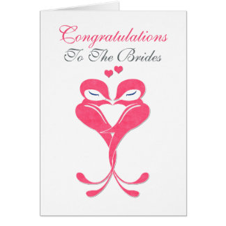 Mariage lesbien d'inséparables de jeunes mariées carte de vœux