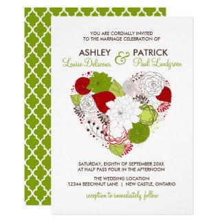 Mariage lunatique de coeur floral de rouge et carton d'invitation  12,7 cm x 17,78 cm