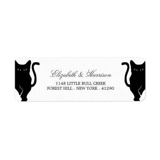 Mariage lunatique moderne de chat noir étiquettes d'adresse retour