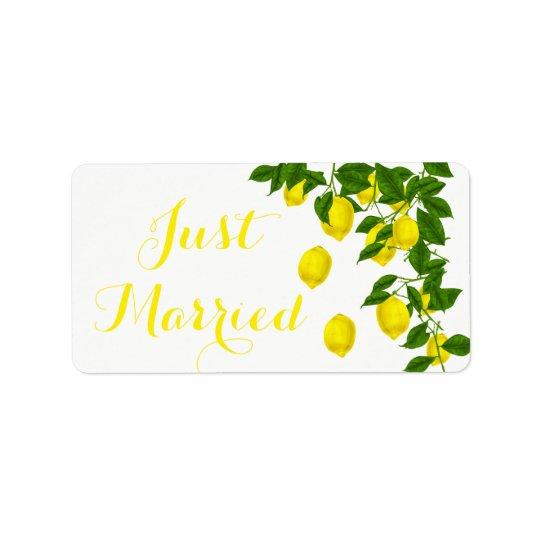 Mariage marié de vert jaune de citron d'agrume étiquettes d'adresse