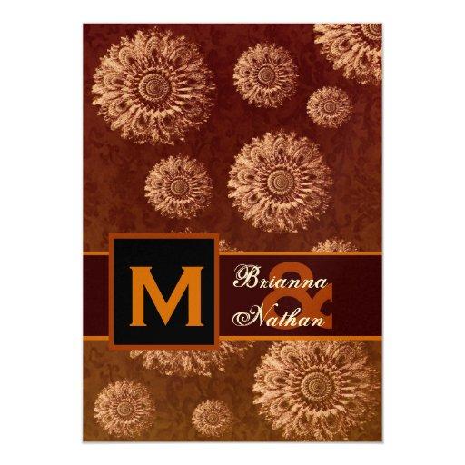 Mariage métallique d'or et de chocolat carton d'invitation  12,7 cm x 17,78 cm