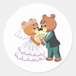 mariage mignon de conception de nounours de jeunes sticker rond