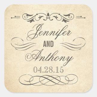 Mariage minable et chic vintage sticker carré